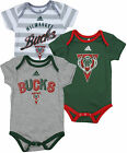 Adidas NBA Basketball Infants Milwaukee Bucks 3 Pack Creeper Bodysuit Set