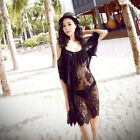 Women's Black Hollow Smock Lace Crochet Straps Dress Gown Perspective Beach GBP