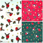 Per half metre/ FQ 100 % cotton Christmas Robin fabric green red cream