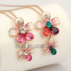 B1-Q019 Fashion Flowers Necklace Pendant Swarovski Crystal