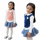2Pcs Girls Kids Outfit Sets Tops Shirt+Dot Skirt School Tutu Dress 2-7Y Clothing