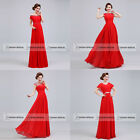 Clearance SALE Cap Sleeve Evening Prom Dress Long Red Mother Wedding Party Gown