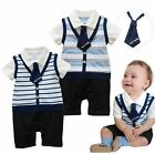 Boys Baby Romper Pants Striped 1Pcs 3-24M Outfit Jumpsuit Bowtie Clothing Summer