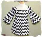 NEW Girls Boutique-Black & White CHEVRON PEASANT DRESS-Custom-4-7-MUST C