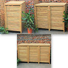 Woodside Wooden Outdoor Wheelie Bin Cover Storage Cupboard Screening Unit