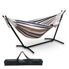 Double Hammock Hanging Rope Chair Lounger Porch Swing Seat Steel Frame Stand Set cheap