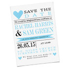 PERSONALISED WEDDING SAVE THE DATE INVITES BLUE HEARTS BIRTHDAY HEN DO LOVE CUTE