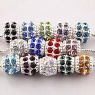 Wholesale Inlay Crystal Barrel Loose Big Hole Beads Fit Charms European Bracelet