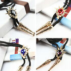 Western Cowboy Rivet Crystal Bola Bolo Ties Rodeo Dance Necklace Shoestring Ties