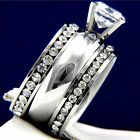 2.04 CT Clear Solitaire Engagement 316L Stainless Steel Wedding Ring Set