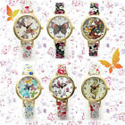 Fashion Lady Gold Case Thin Leather Band Flower Butterfly Quartz Wrist Watch New