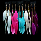 1 Pair Womens Jewelry Goose Feather Earrings Dangle Eardrop Charm Style Party