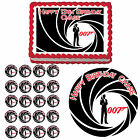 James Bond 007 Edible Birthday Party Cake Cupcake Topper Decoration $10.96 CAD