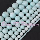 4-16MM ROUND NATURAL BLUE AMAZONITE GEMSTONE JEWELRY MAKING BEADS STRAND 15""