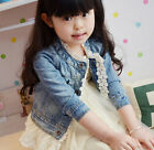 Girls Kids Cute Jean Coat Lace Jacket Outwear Denim Top Button Costume Dress