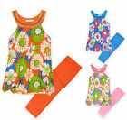 Girls Vibrant Floral Pleated Top And Lace Bottom Legging Set New Ages 2-10 Years