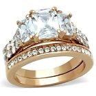 New Stainless Steel Rose Gold IP AAA Cubic Zirconia Wedding Ring Set  Sizes 5-10