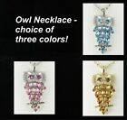 Rhinestone Owl Pendant Necklace CHOICE OF 3 COLORS Pink blue amber yellow new