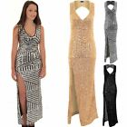 Womens Sleeveless Cut Out Back V-Neck Side Split Sequin Sexy Long Maxi Dress