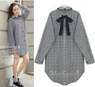 2015 Casual Fashion lady oversize cotton lattice Coat tops shirt dress plus size