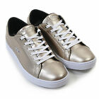 Lacoste Women's Showcourt RQT2 Leather Lace Up Trainers Metallic Silver