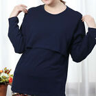 New Maternity Soft Cotton Breastfeeding Shirt Long Sleeve Nursing Tops Blouse