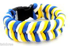 Blue, Yellow and White Stripes Paracord Bracelet with Buckle Choices I Leeds