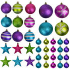 SHATTERPROOF CHRISTMAS TREE DECORATIONS - STARS & BAUBLES - HOLIDAY ORNAMENTS