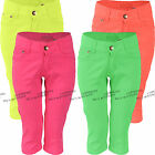 Girls Cropped Jeans Plain Coloured 3/4 Length Kids Summer Clothes Ages 4-12 Year