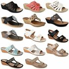 Womens Ladies High Wedge Heel Platform Toe Post Diamante Sandals Shoes Size
