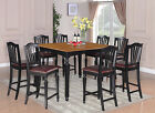 5PC, 7PC, or 9PC DINETTE COUNTER HEIGHT TABLE SET W/ LEATHER CHAIRS IN BLACK