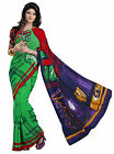 Indian Elegant Green Colored Printed Faux Georgette Saree By Triveni