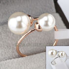 A1-R3140 Fashion Double Pearl Wrap Ring 18KGP Size 5.5-9