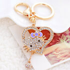 NEW Lovely Heart Cat Rhinestone Key Chain Crystal Purse Charm Keychain YSK266