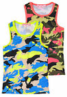 Girls Vibrant Camouflage Vest Top New Kids Army Print T Shirt Ages 2-12 Years