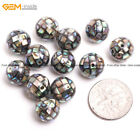 GEM-inside Round Faceted Natural Abalone Shell Beads For Jewelry Making 6 pcs