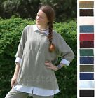MOSAIC 2510 Linen ANGLED TIER TUNIC A-Line Pocket Panel Top S M L XL 2015 COLORS