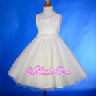 Beaded Satin Scoop Flower Girl Dress Wedding Pageant Occasion Ivory 2T-11 #229