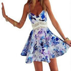 Women Sexy Casual Floral Summer Sleeveless Party Evening Mini Dress Hot