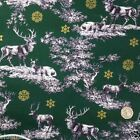 Christmas Scene stag/deer GREEN fabric 100 % cotton per 1/2 mtr or per FQ