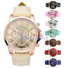 Retro Geneva Roma Analog Quartz Chrono PU Faux Leather Mens Womens Wristwatch