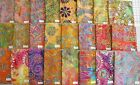 "MORE NEW-- Unique Embroidered jewel tone Batik fabric 100% cotton 1/2 yd x 44"" w"