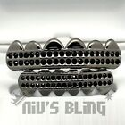 Gunmetal Iced Out GRILLZ Black Onyx CZ Bling Tooth Mouth Teeth Cap HipHop Grills