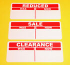 Bright Red Sale / Reduced / Clearance Price Point Stickers Sticky Labels Tags