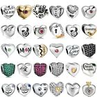 New Crystal Love Heart European Charms Beads For 925 Silver Bracelets Necklaces