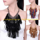 Fashion Gold Chain Multi Cotton Leather Tassels Statement Pendant Bib Necklace