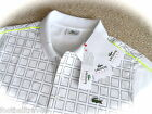 "LARGE 40-42"" (5) LACOSTE POLO SHIRT ULTRA DRY SPORTS WHITE NEW TAGS Mens Tennis"