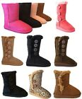 New Girls Kids Boots Mid Calf Faux Suede Flat Button Winter Stylish Shoes Boots