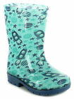 New Boys/Childrens Blue/Navy Pvc Wellie Boots, Planet And Star Print UK SIZES
