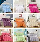 Solid Stripe 100% Cotton Bedding Doona Duvet Quilt Cover And 2 Pillowcases Set